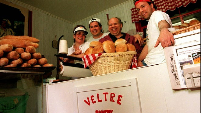 Looking back: At the Veltre Bakery on Parkway Ave. Dave Veltre and some of the workers that remodeled the front of the bakery over night with out Dave even knowing it. Left to right: Lucille, Anthony, Dave Donofrio and owner Dave Veltre; May 19, 1995.