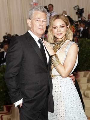 David Foster and Katharine McPhee arrive on the red carpet for the Met Gala in New York on May 7, 2018.