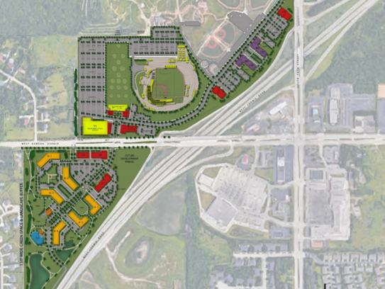 Rawson Avenue cuts the Ballpark Commons development