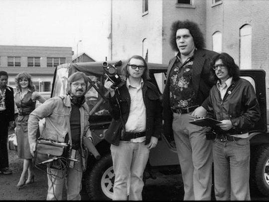 "The ""I Like To Hurt People"" crew with Andre the Giant in Detroit."