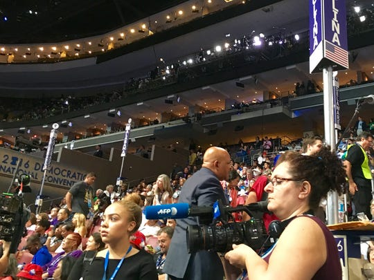 Piscataway's Adeja Crearer (front left) at work at the Democratic National Convention.