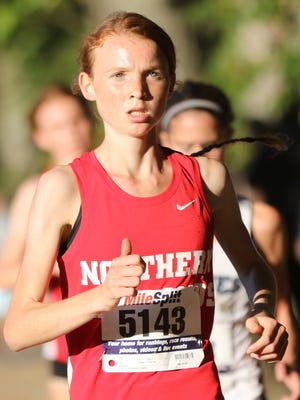 Monica Hebner of Northern Highlands won the girls varsity Freedom race.  She is shown here, near the half way mark, on her way to a 17:47 5k.  Tuesday, October 10, 2017