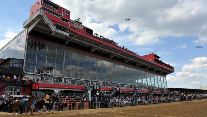 A view of the grandstands before the 139th Preakness Stakes at Pimlico Race Course in 2014.