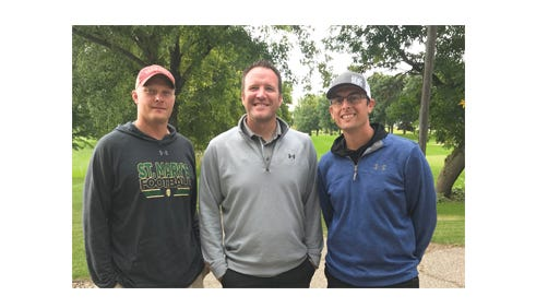 Pictured is the winning team for flight one, from left: Bryan Weiss, Judd Walter, and Adam Fischer.