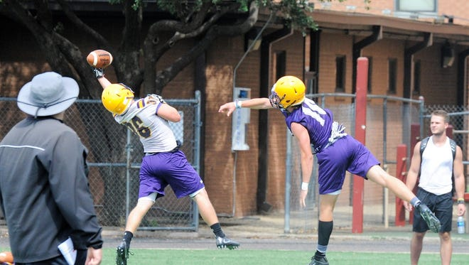 Hardin-Simmons receiver Colton Kent hauls in a one-handed catch during a preseason practice on Aug. 17, 2017.