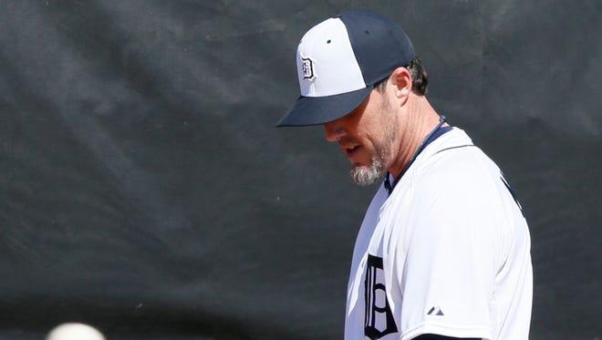 Detroit Tigers pitcher Joe Nathan works in the bullpen Feb. 20, 2015, in Lakeland, Fla.