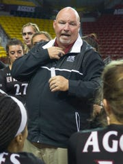 NMSU head volleyball coach Mike Jordan and his Aggies