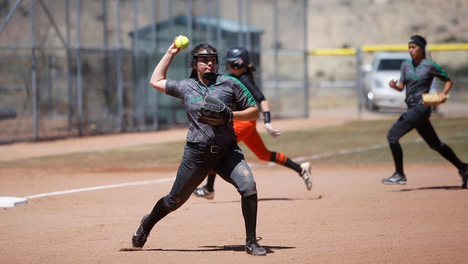 Farmington's Ali Pike, seen here in a district game on April 14 at Aztec, made 5A's All State second team.