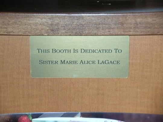 Sister Marie Alice's booth was dedicated to her during