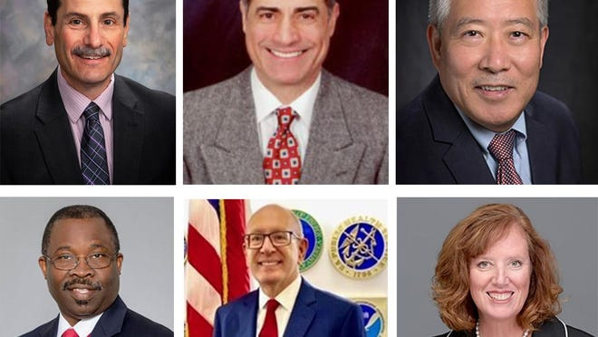 Western Illinois University has narrowed the search for its next president to six candidates. Top row, left to right: Martin Abraham, Interim President at WIU; Bahman Ghorashi, Former Provost and Vice President for Academic Affairs, Tennessee Tech University; and Guiyou Huang, President, Edinboro University of Pennsylvania. Bottom row, left to right: Steve Michael, Executive Vice President for Academic Affairs and Provost, Charles R. Drew University of Medicine and Science (Los Angeles, CA); Michael Shonrock, Dean of Faculty, Center for Leadership Development, U.S. Office of Personnel Management (Washington, D.C.); and Cady Short-Thompson, Provost, Hope College (Holland, MI).