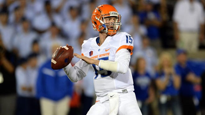 Sep 27, 2014; Colorado Springs, Colo; Boise State Broncos quarterback Ryan Finley prepares to throw in the fourth quarter against the Air Force Falcons at Falcon Stadium.