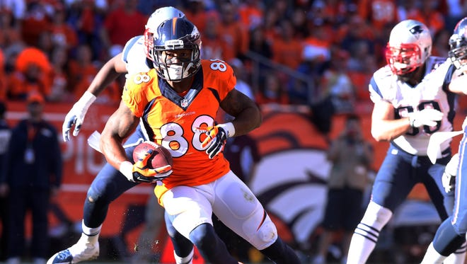 Denver Broncos wide receiver Demaryius Thomas (88) caught seven passes for 134 yards and a touchdown in the AFC Championship Game.