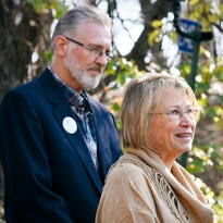 Patty and Jerry Wetterling speak to reporters Tuesday at their home in St. Joseph.