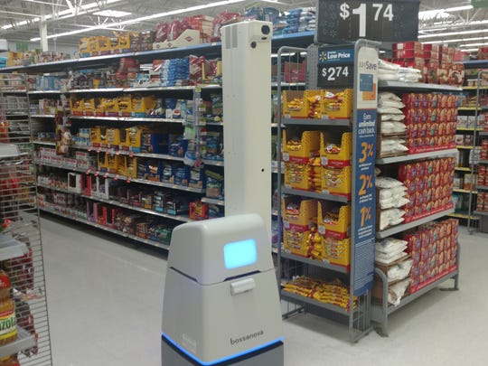 The Bossanova robot can spot empty shelves with a quick scan at Walmart stores.
