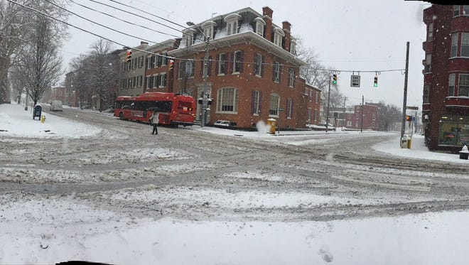 The intersection of E. Market St. and Queen St. in York as snow began to pick up on March 21.