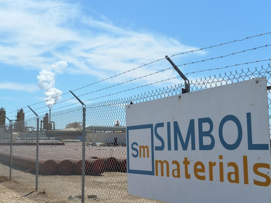 Simbol Materials' demonstration plant, seen on April 29, 2016, has been dormant for two years. In the background, steam rises from EnergySource's Featherstone geothermal plant.