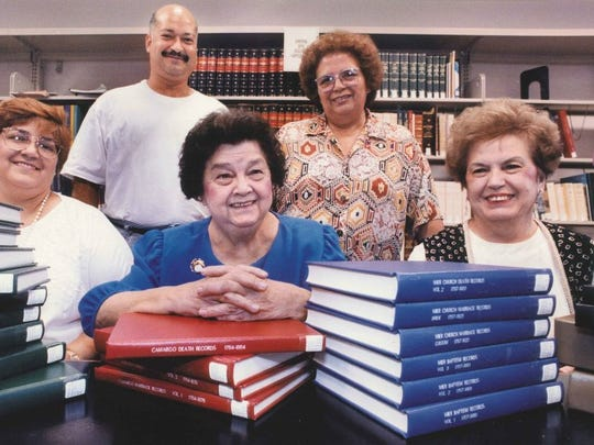 Caller-Times file Dr. Clotilde Garcia (third from left) founded the Spanish American Geological Association to gather and develop Spanish genealogical materials and collections at the Corpus Christi Public Library and to promote Spanish genealogical research. Garcia worked with Mira Smithwick (from left), Richard Gonzales, Juanita Garza Garza and Minerva Overstreet to transfer reels of microfilm containing genealogical records to bound volumes of computer printouts held at the library in 1994.