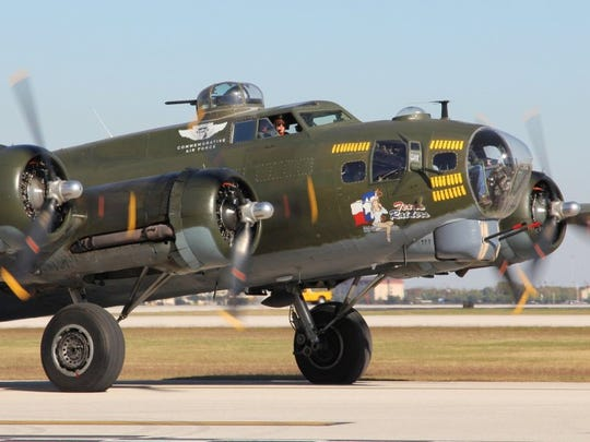 Contributed by/CAF-Gulf Coast Wing World War II Flying Fortress Texas Raiders preparing to take flight.