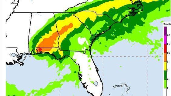 Hurrican Sally U.S. Rainfall QPF as of 4 a.m. Wednesday from NOAA.gov