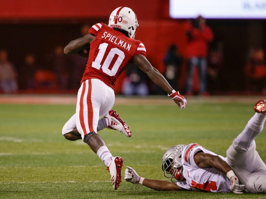 Ohio State's Jordan Fuller (4) trips Nebraska wide receiver JD Spielman (10) before he could reach the end zone, during the first half of an NCAA college football game in Lincoln, Neb., Saturday, Oct. 14, 2017. (AP Photo/Nati Harnik)