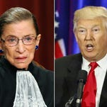 This combination of pictures created on July 13, 2016 shows US Supreme Court Justice Ruth Bader Ginsburg (L) on October 8, 2010 and Republican presidential nominee Donald Trump on June 22, 2016.