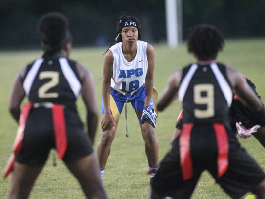 Godby's Gisele Jones sets up for the next play.