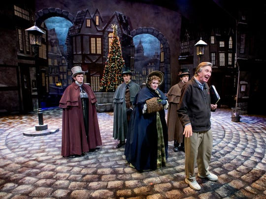 Alabama Shakespeare Festival Producing Artistic Director Geoffrey Sherman, right, talks with the cast of A Christmas Carol on the Festival Stage at the ASF in Montgomery, Ala., on Wednesday November 16, 2016. The ASF production of A Christmas Carol runs from November 20 through December 24.