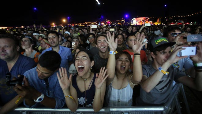 Apr 16, 2017; Indio, CA, USA; Hans Zimmer fans at his performance on the Outdoor Theatre during the Coachella Valley Music and Arts Festival at Empire Polo Club. Mandatory Credit: Richard Lui/The Desert Sun via USA TODAY NETWORK