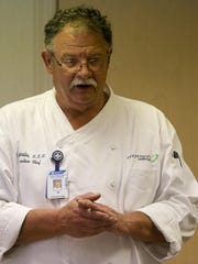 T.R. Willis talks about the second course, roasted vegetables with falafel croutons, during a meal tasting at The Foundation in Jackson on Wednesday.