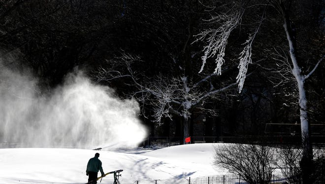 File photo taken on Tuesday, Jan. 19, 2016 shows snow being made for Winter Jam, planned weekend festival cancelled by the approach of Winter Storm Jonas.