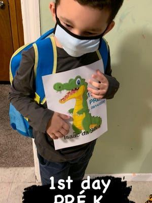 Pre-K A-OK!  Isaac Martins, 5, of Holbrook, who is on the autism spectrum, was super happy and excited to see his teachers and friends when he attended his first day of pre-K Sept. 14.
