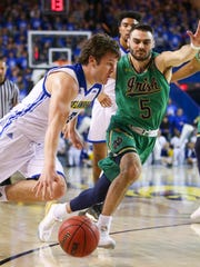 Delaware's Ryan Daly (left) moves past Notre Dame's