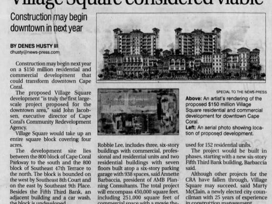 A clipping from The News-Press in 2009 detailing plans