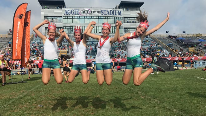 The Randolph 4xMile celebrates after earning All-America honors at New Balance Nationals in Greensboro, N.C.
