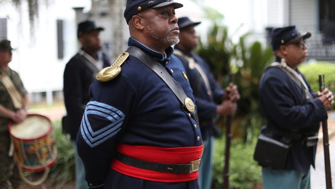 Re-enactors from the 2nd Infantry Regiment, United States Colored Troops Living History Association, will provide a special presentation of the Texas Emancipation Proclamation. They are shown here at an Emancipation Day.