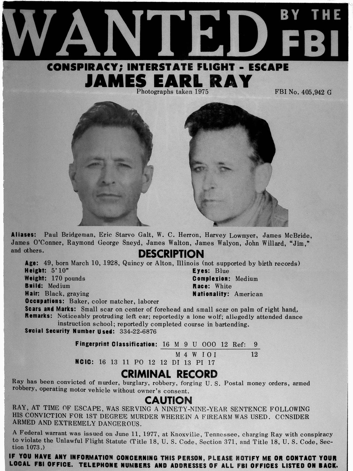 This wanted poster for James Earl Ray was released