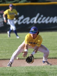 Ontario's Avery Fisher catches a ground ball during