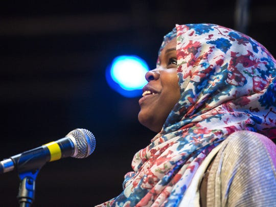 Balkisa Abdikadir of Muslim Girls Making Change performs at ArtsRiot in Burlington on Tuesday, May 24, 2016.