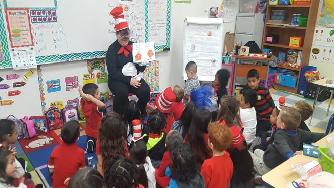 School of Science and Technology students celebrated Dr. Seuss' birthday Thursday, March 2. Reading specialist for the campus Kimberly Lardin read Dr. Seuss books to every English class in honor of the birthday celebration.