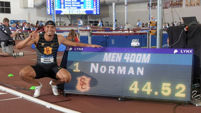 Michael Norman of USC and his winning time in the 400.