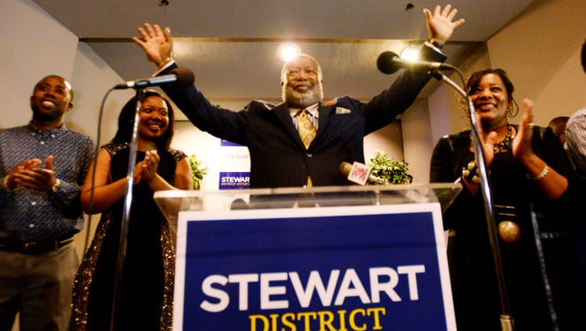 James Stewart speaks at his election night party at the Shreveport Country Club Saturday evening.