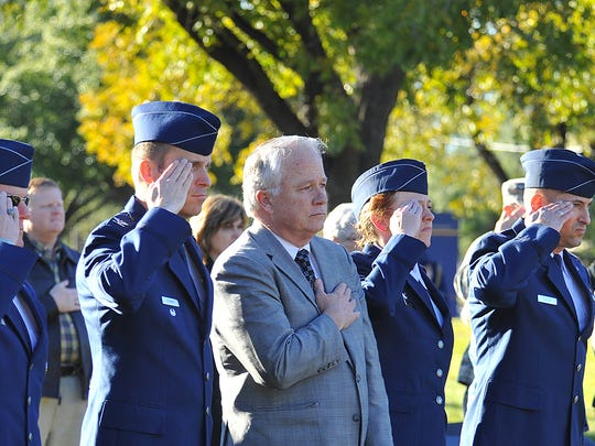 Angelo State University's ROTC conduct a Flag Retreat
