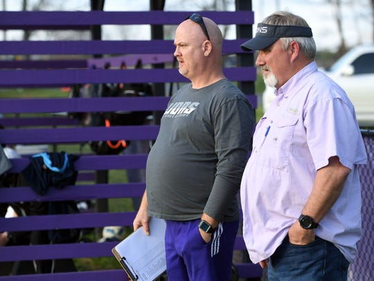 First year The King's Academy soccer coach Brent Frazier, right, with co-head coach Michael Gunter during the game against the Knoxville Ambassadors on Tuesday, April 10, 2018