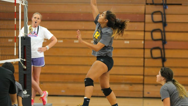 Hartnell College sophomore Neysha Laumatia hits the ball during volleyball practice on campus Wednesday.