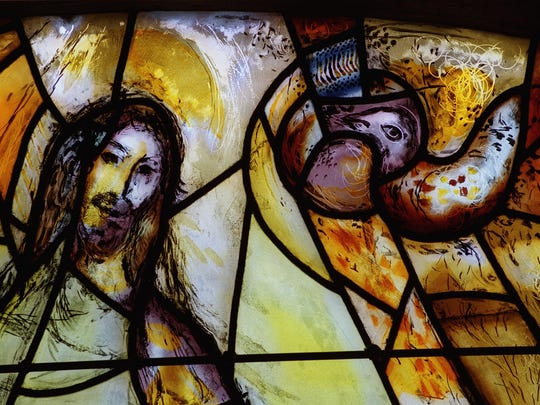 """A detail of the window""""Jeremiah"""" at the Union Church of Pocantico Hills, by artist Marc Chagall"""