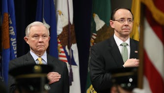 Attorney General Jeff Sessions, left, and Deputy Attorney General Rod Rosenstein.