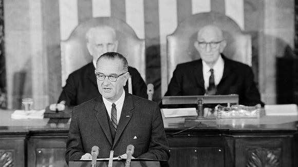President Lyndon B. Johnson in his State of the Union