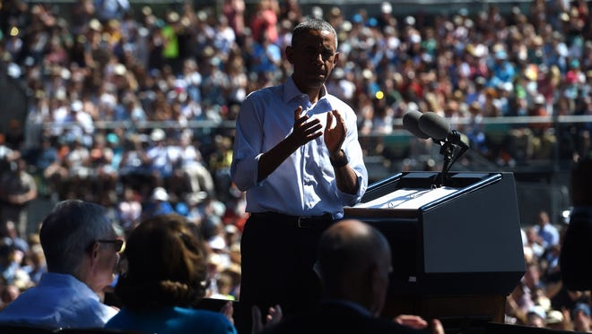President Barack Obama speaks at the Tahoe Summit at Harvey's Lake Tahoe Hotel and Casino Outdoor Arena in Stateline on Aug. 31, 2016.