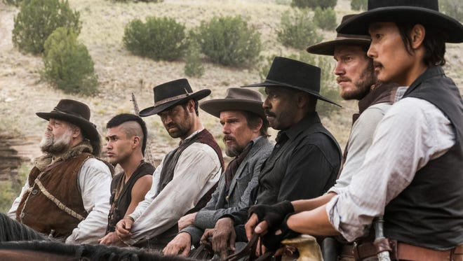 "Vincent D'Onofrio (from left), Martin Sensmeier, Manuel Garcia-Rulfo, Ethan Hawke, Denzel Washington, Chris Pratt and Byung-hun Lee are ""The Magnificent Seven."""