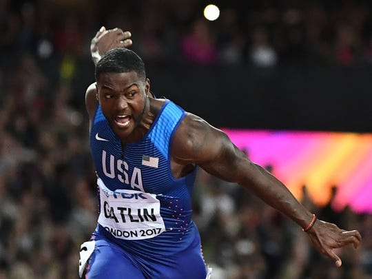 US athlete Justin Gatlin wins the final of the men's 100m athletics event at the 2017 IAAF World Championships at the London Stadium in London on August 5, 2017. / AFP PHOTO / Jewel SAMAD        (Photo credit should read JEWEL SAMAD/AFP/Getty Images)